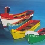 Vier gekleurde bootjes