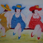 Drie dikke dames op het strand